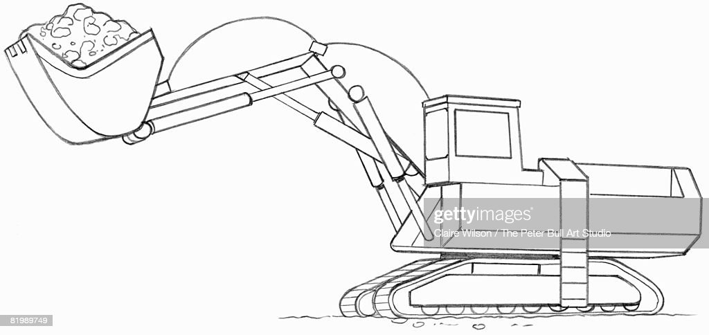 Line Drawing Of A Mechanical Digger Stock Illustration