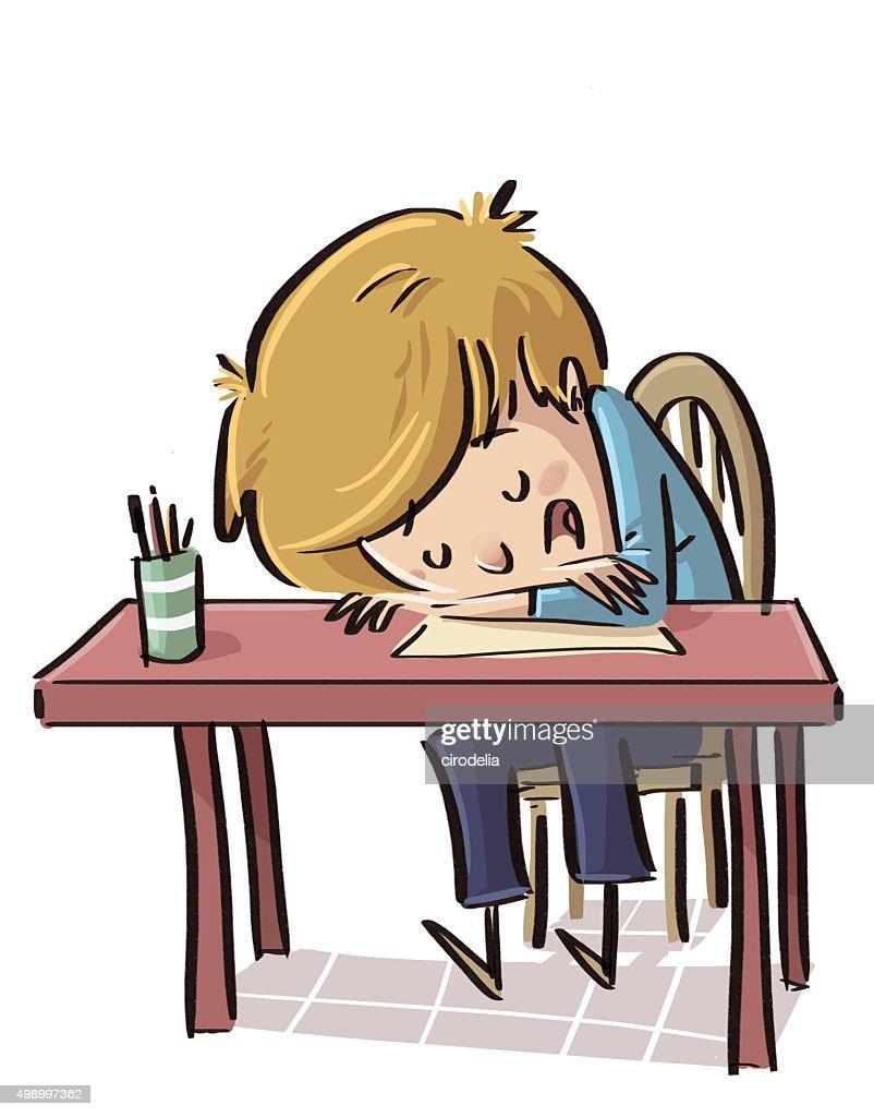 Nio Dormido En Clase Ilustracin de stock  Thinkstock