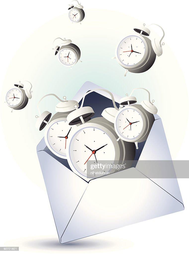open envelope with alarm