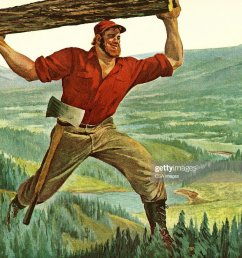 paul bunyan carrying a log [ 1024 x 870 Pixel ]