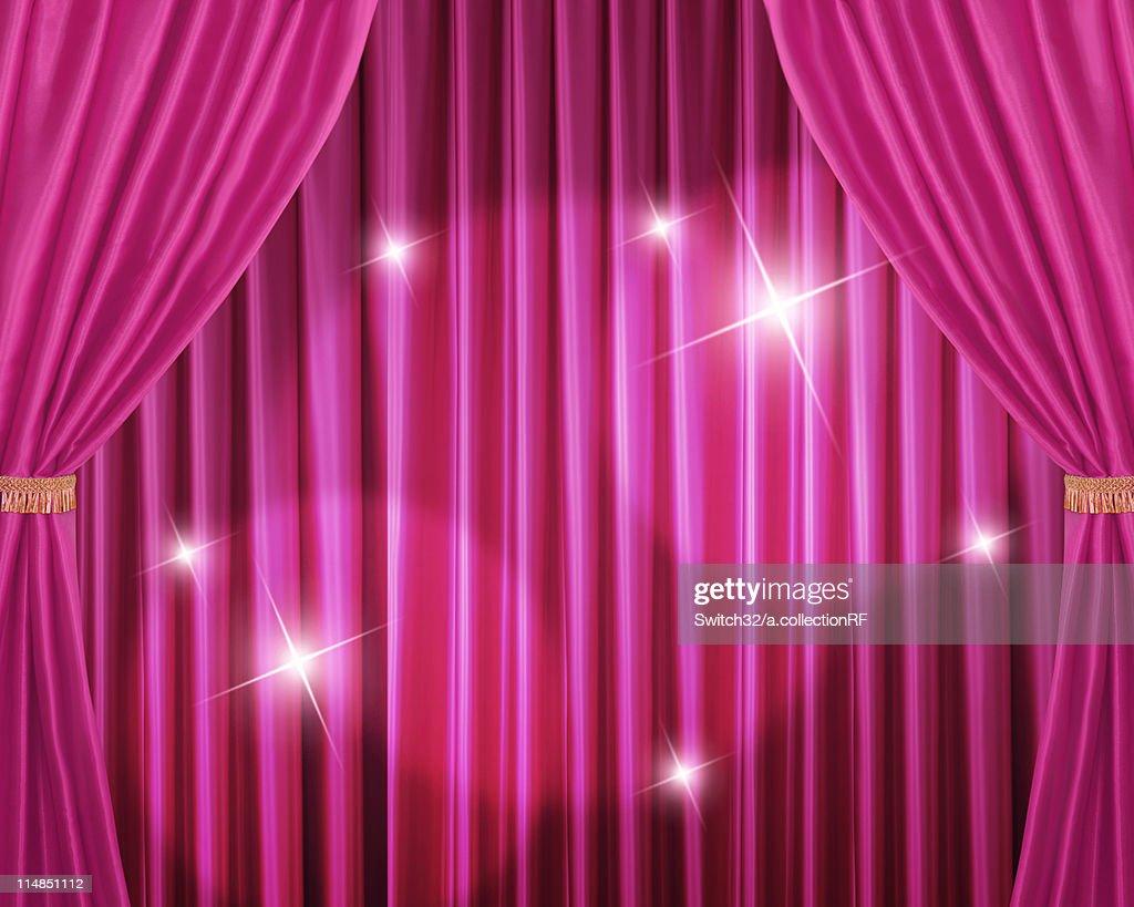 Pink Stage Curtain Digital Enhancement Stock Illustration