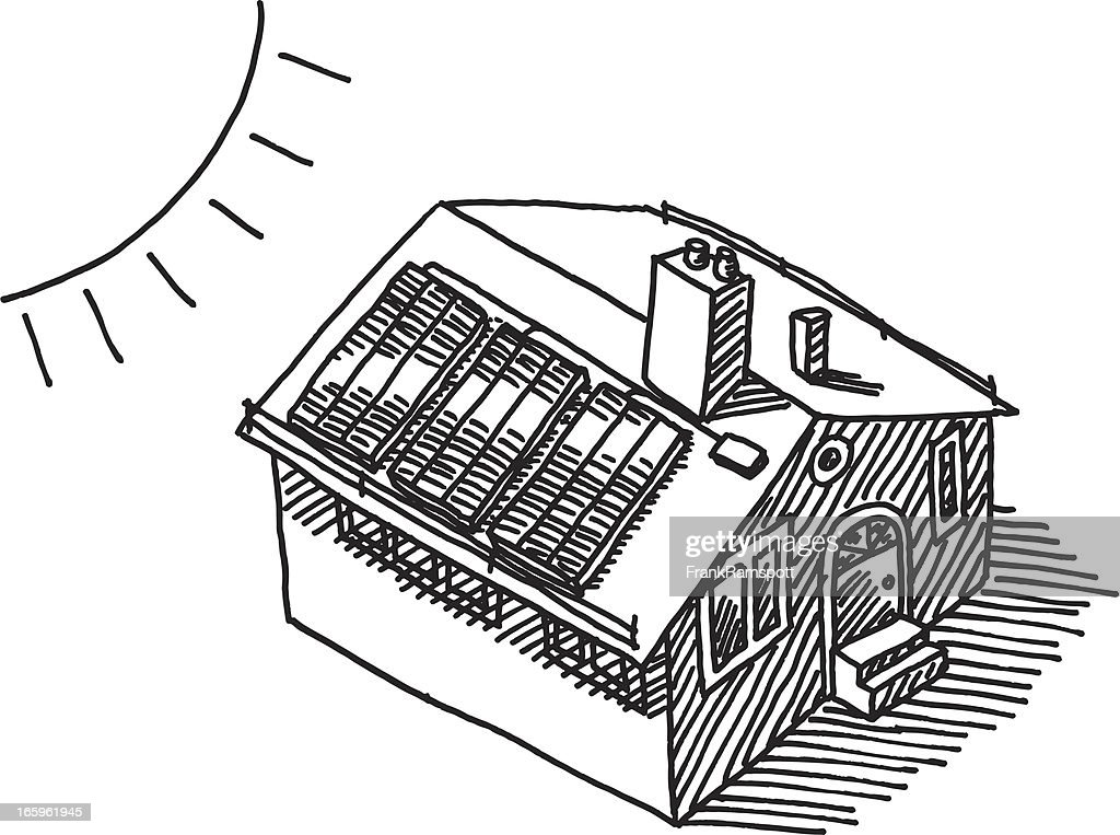 Sun Energy Solar Panel Roof Drawing High-Res Vector