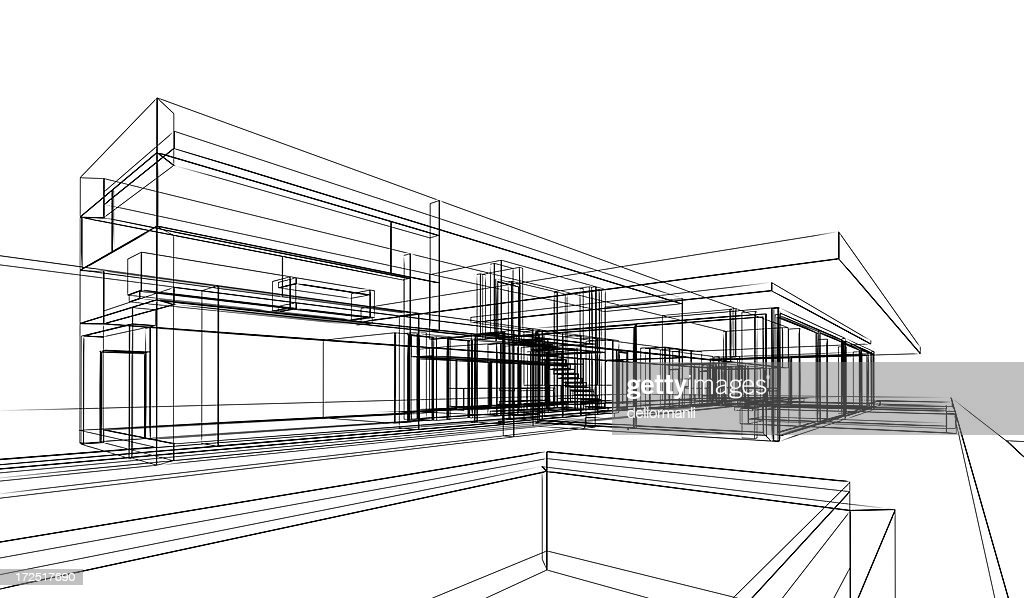 3d Wireframe Building Project With White Background Stock