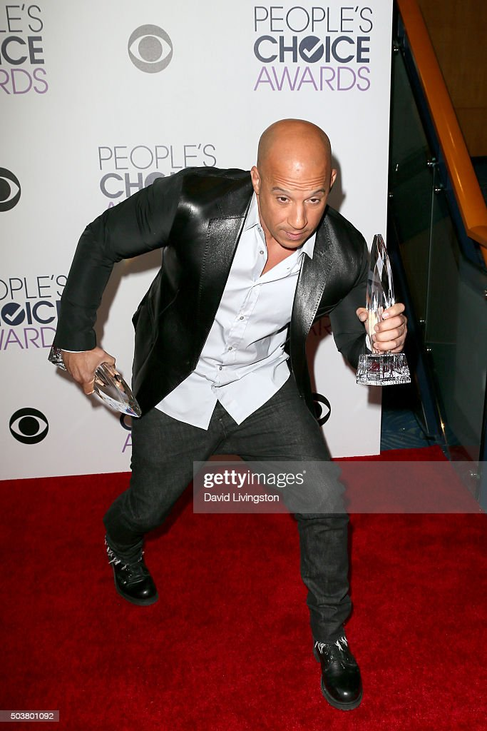 Actor Vin Diesel poses in the press room during the People's Choice... News Photo - Getty Images