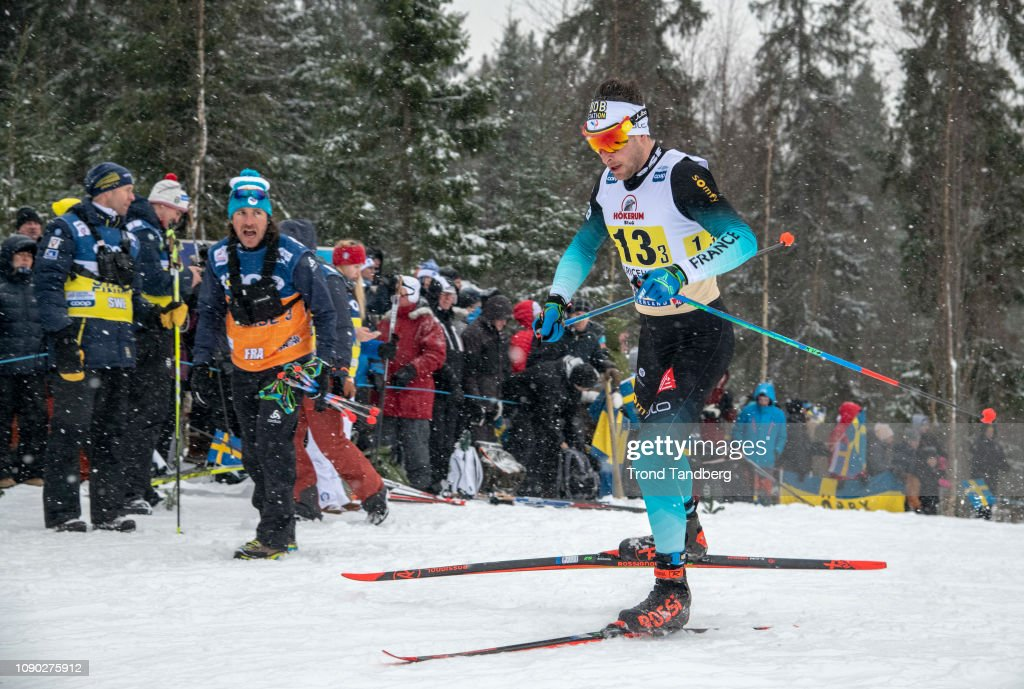Adrien Backscheider of France during the FIS WC Men 4 x 7,5 km Relay