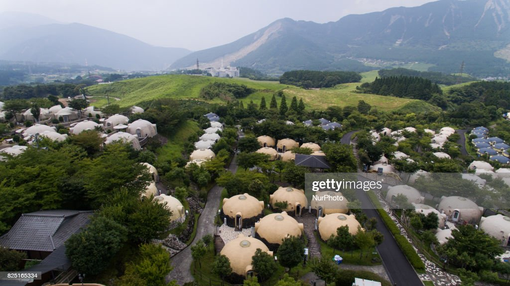 Aerial View Of Quake Proof Dome Houses In Aso Farm Land