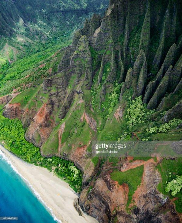 Aerial Views Of Na Pali Coast Kauai Stock