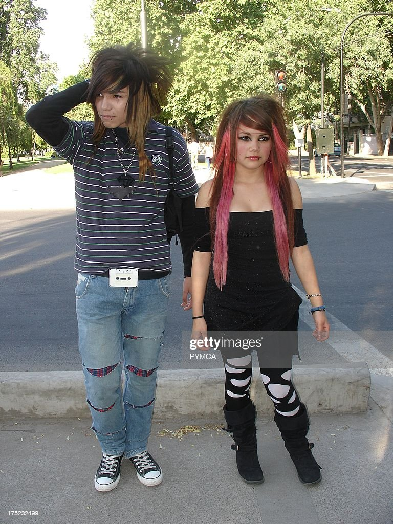 emo boy and girl with pink dyed