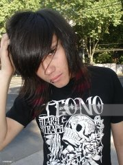 emo boy with red stripes dyed