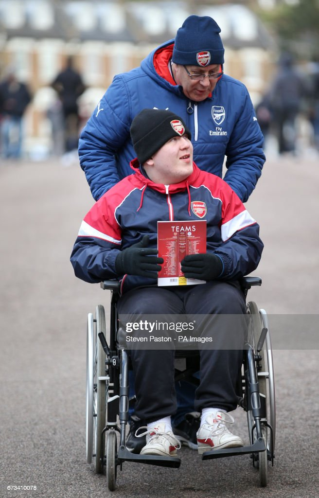 wheelchair emirates cracker barrel rocking chair arsenal v leicester city premier league stadium fans outside the during match at