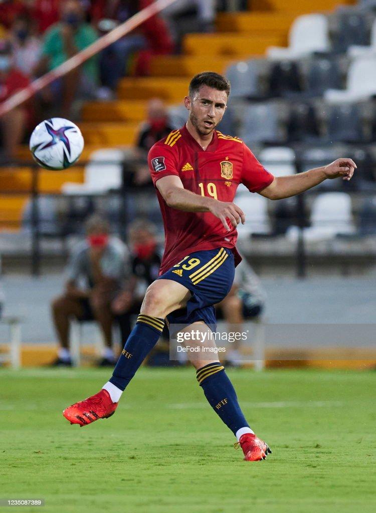 Pablo sarabia dan aymeric laporte. Aymeric Laporte of Spain controls the ball during the 2022 ...
