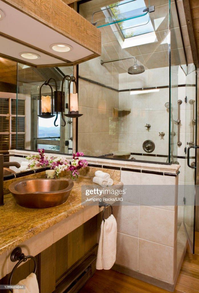 https www gettyimages ae photos rustic bathroom sink