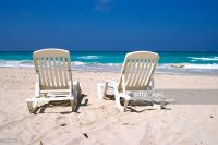 Beach Chairs By Ocean On Varadero Beach Cuba Stock Photo