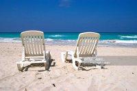 Beach Chairs By Ocean On Varadero Beach Cuba Stock Photo ...