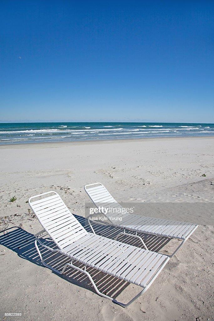 Beach Chairs On Atlantic Ocean Beach Stock Photo