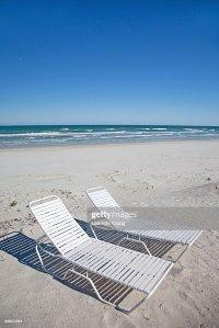 Beach Chairs On Atlantic Ocean Beach Stock Photo | Getty ...