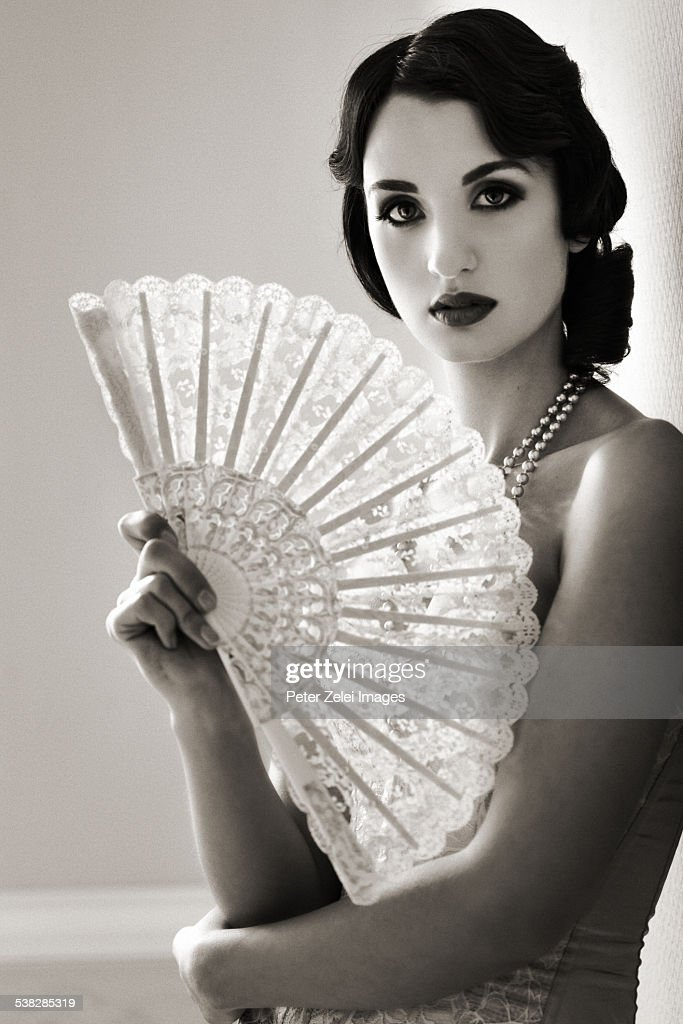 Beautiful Retro Woman With Fan Stock Photo  Getty Images