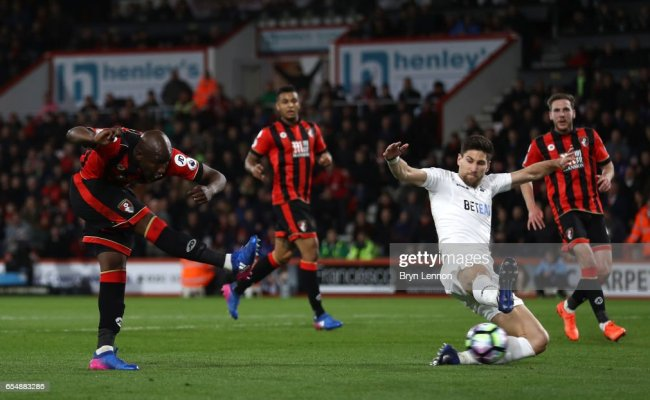 Benik Afobe Of Afc Bournemouth Scores His Sides Second