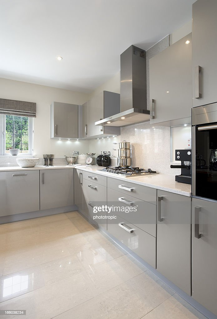 Bright Light Grey Kitchen Stock Photo