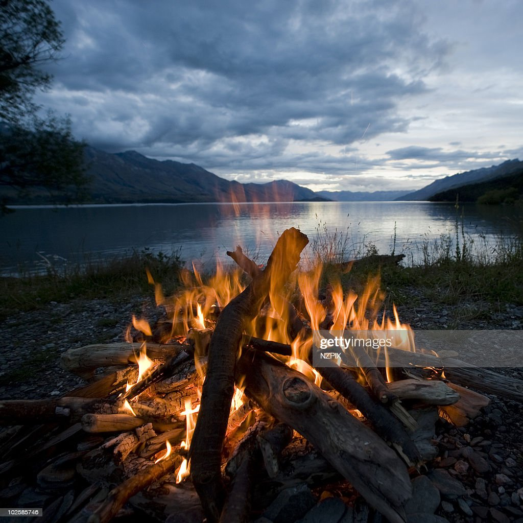 Panoramic Wallpaper Fall Campfire Kinloch Lake Wakatipu Nz Stock Photo Getty Images