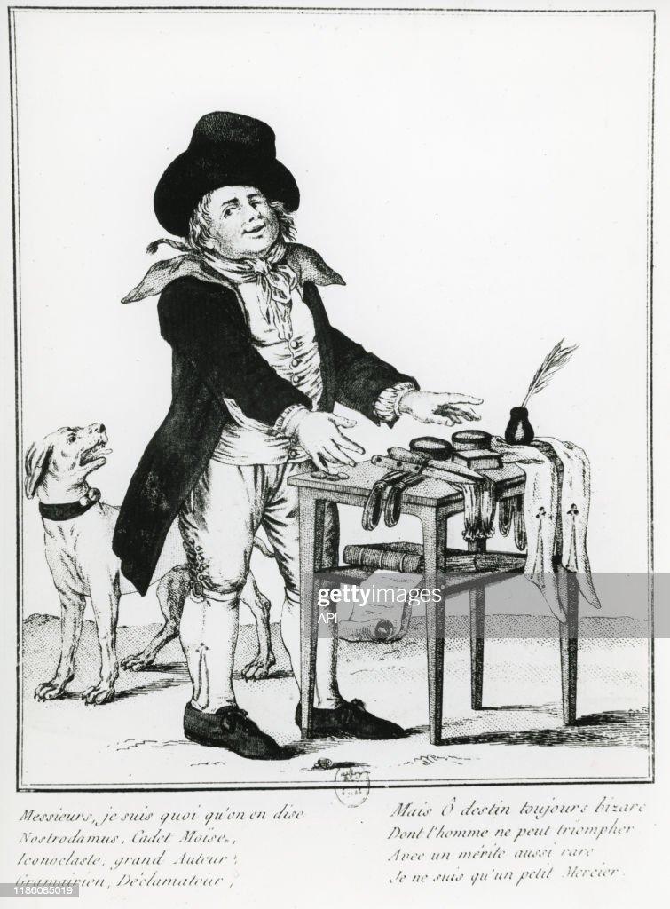 Dont On Ne Peut Triompher : triompher, Caricature, L'écrivain, Français, Louis-Sébastien, Mercier., Photo, Getty, Images