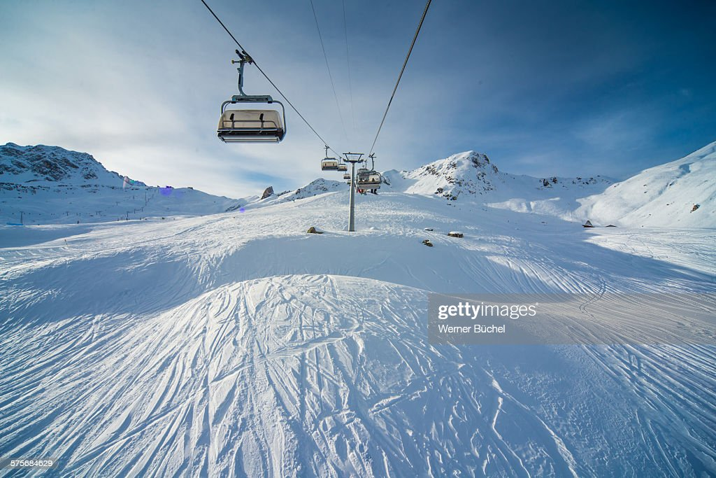 ski chair lift rocking horse desk stock photos and pictures chairlift ressort in the alps