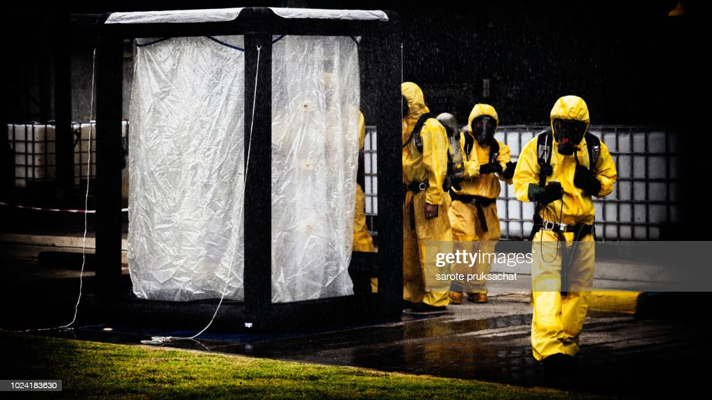 Chemical Spill Pollution Response Team In Action Recovery Stop Spill Of The Chemical Spill Pollution At Factory Hazard Emergency Response Concept ...