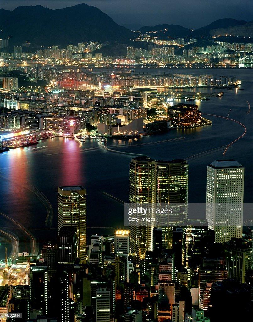 China Hong Kong City Harbor At Night Stock Photo - Getty Images