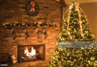 Christmas Fireplace Scene Stock Photo | Getty Images