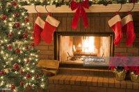 Christmas Tree And Decor Around The Fireplace With Blazing ...