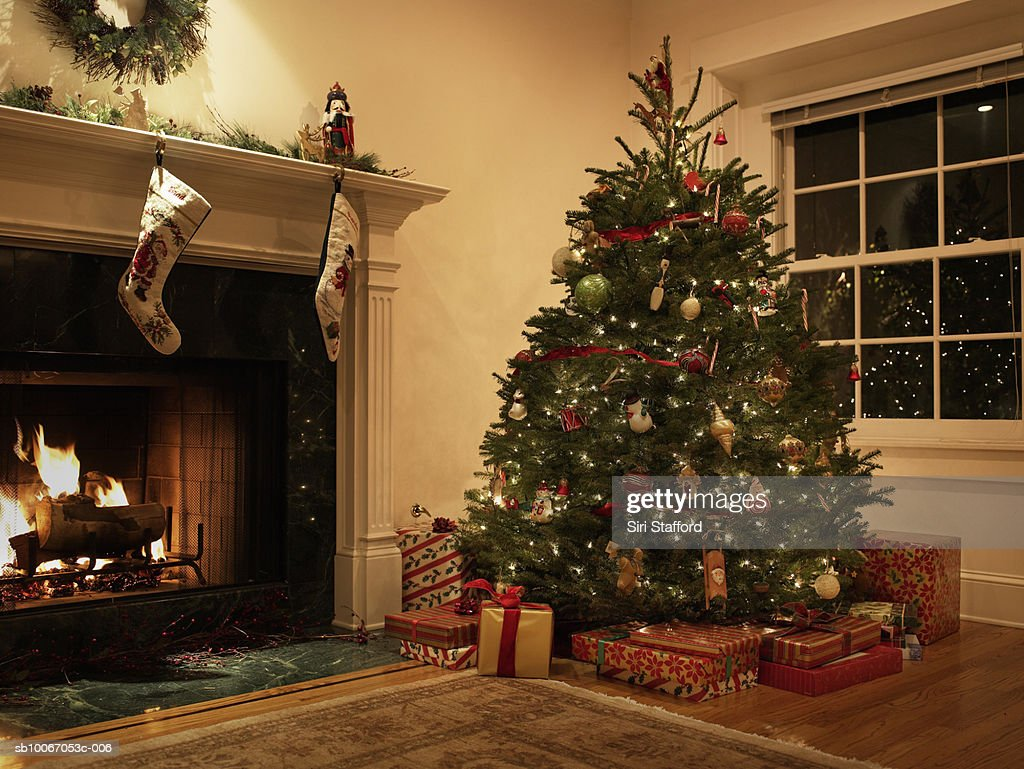 living room tree comfortable sets christmas in stock photo getty images
