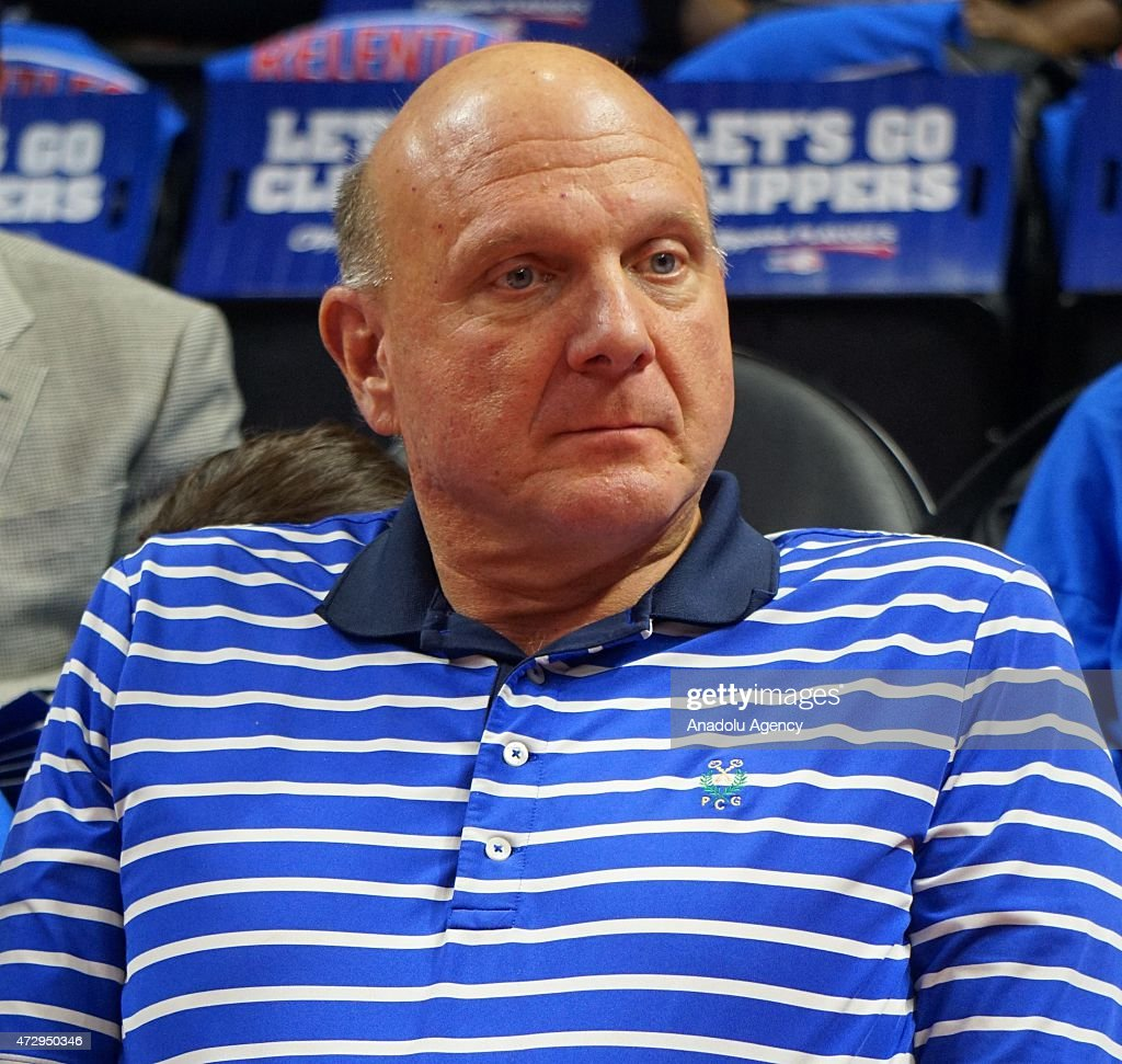 Clippers owner Steve Ballmer watches the NBA playoff game