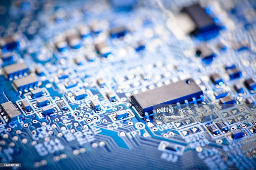 Close Up Of A Blue Computer Circuit Board Stock Photo
