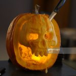 Closeup Of Carved Skull Pumpkin Attached With Knife High Res Stock Photo Getty Images