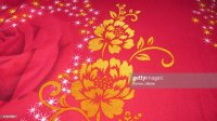 Cloth Designflower Design On A Bed Sheet Stock Photo