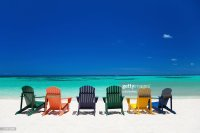 Colorful Chairs At A Tropical Beach In The Caribbean Stock ...