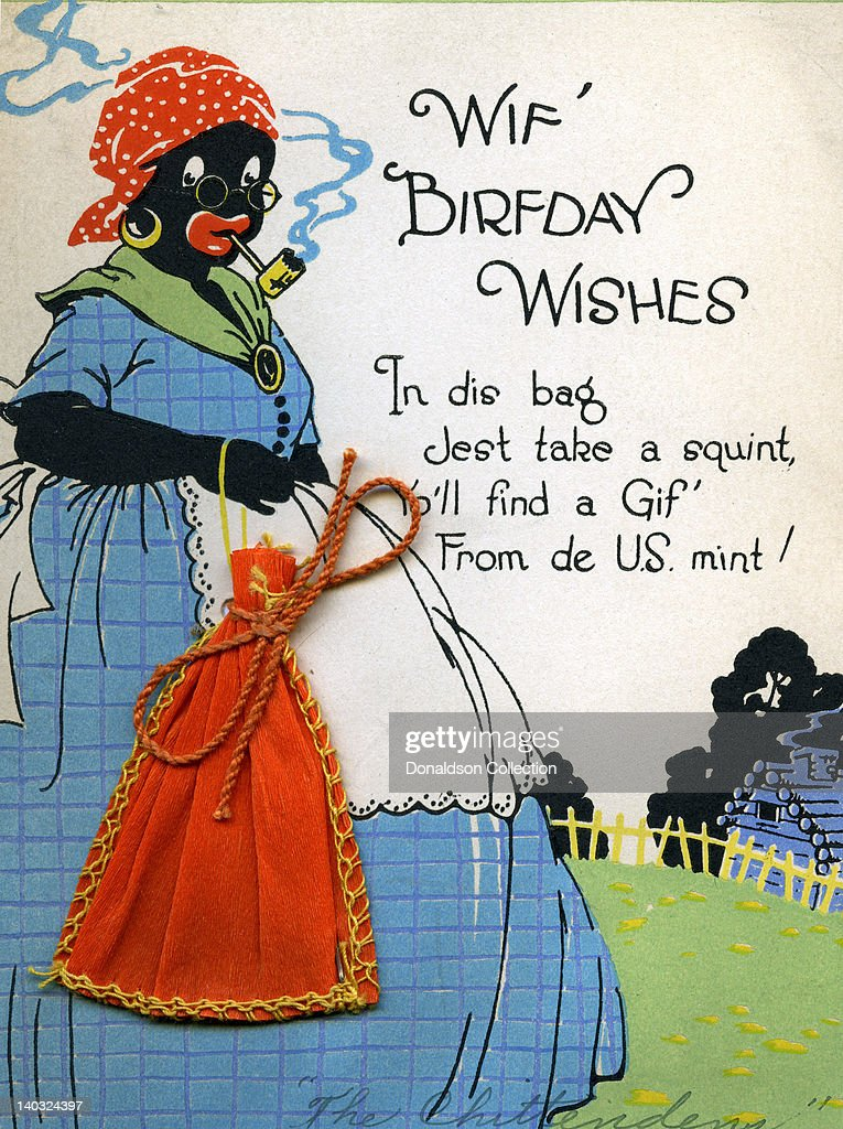 A Colorful Vintage Cartoon Greeting Card Depicts A Racist