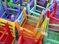 Colourful Painted Wooden Chairs Stock Photo | Getty Images