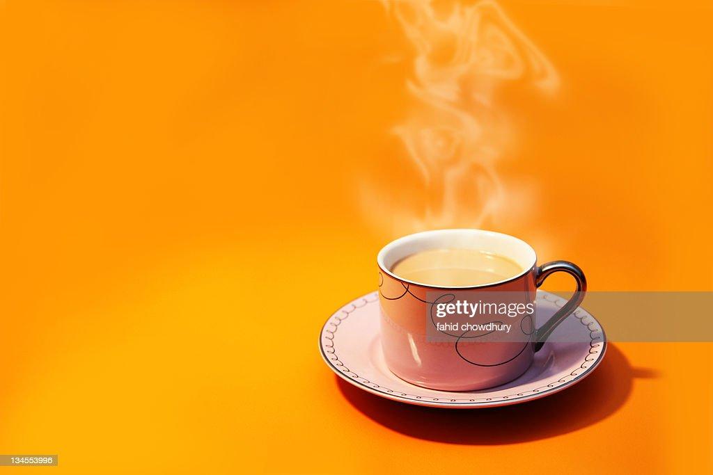 cup tea smoke yellow