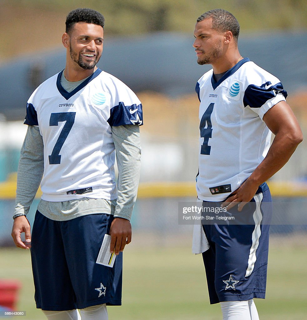 Dallas Cowboys quarterbacks Jameill Showers and Dak
