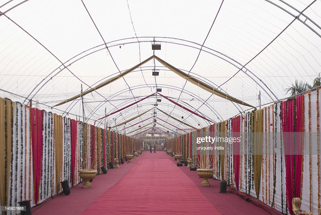 Decorated Corridor Of A Wedding Tent Stock Photo