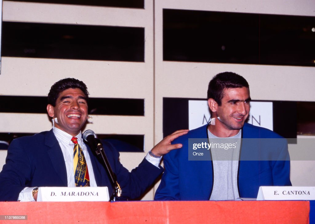 """""""they kill us for their sport. Diego Maradona Of Argentina And Eric Cantona Of France During The News Photo Getty Images"""