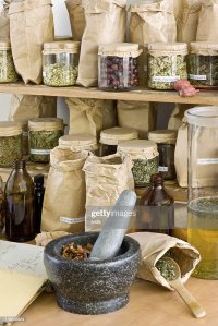 Different Types Of Herbs On Shelves Stock Photo | Getty Images