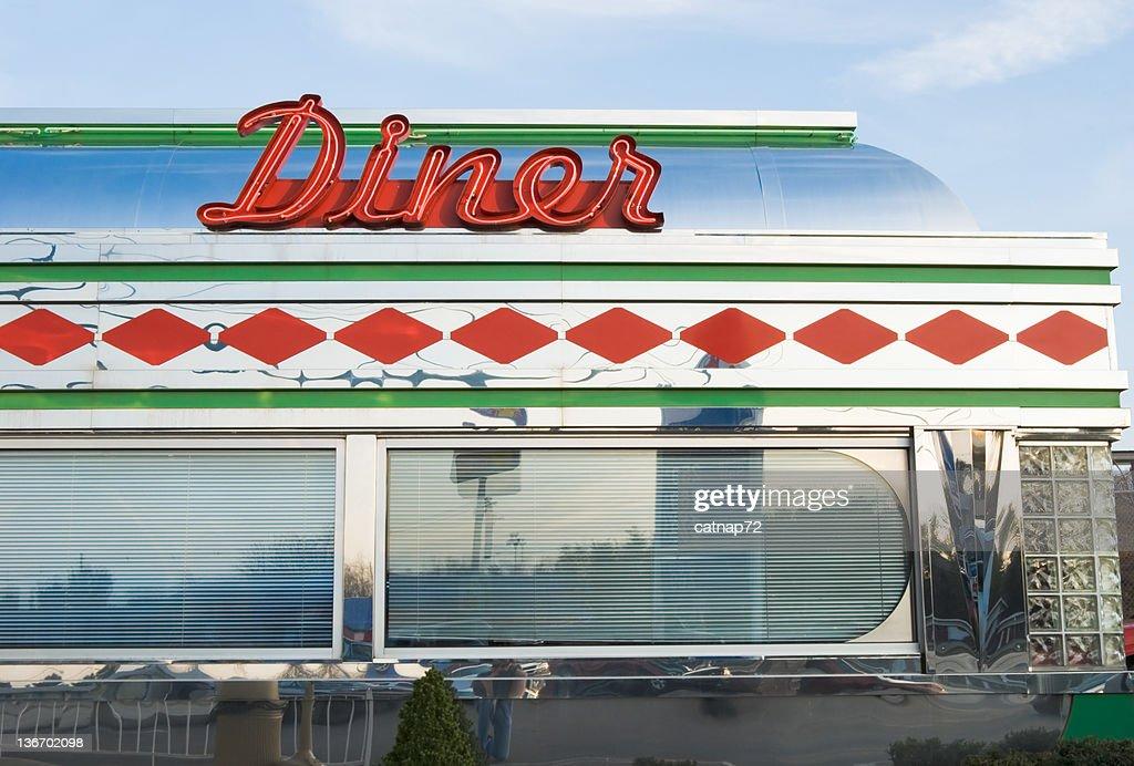 Diner Sign In Red Neon Roadside Restaurant Retro 1950s