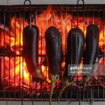 Directly Above Shot Of Eggplants On Barbecue Grill High Res Stock Photo Getty Images