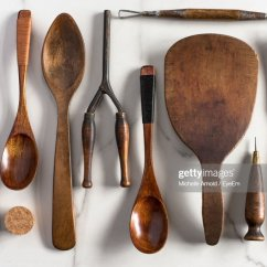 Kitchen Wooden Utensils Gel Pro Mats Spoon Stock Photos And Pictures Directly Above Shot Of Cooking On Marble