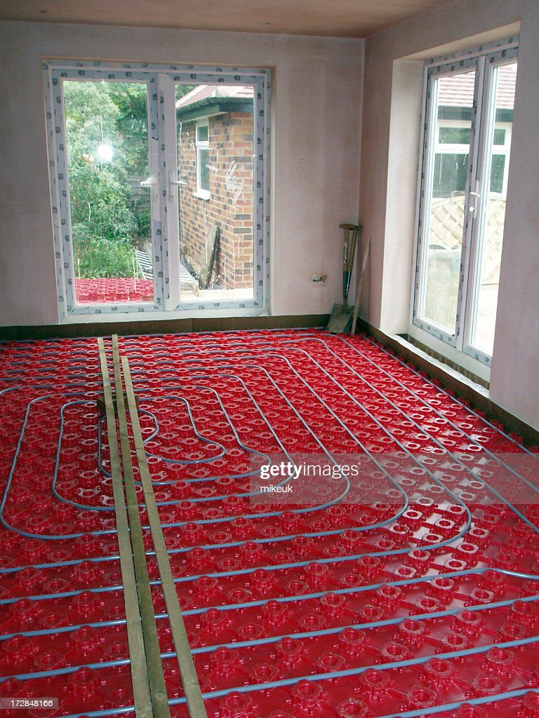 hight resolution of domestic underfloor heating construction of hot water pipes stock photo
