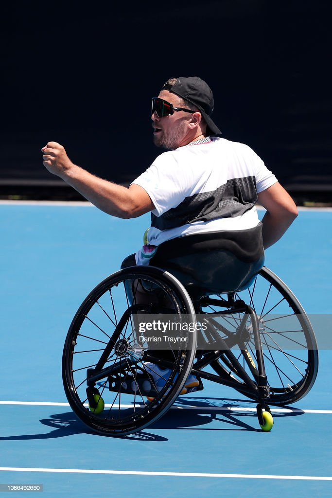 wheelchair quad rubbermaid high chair philippines dylan alcott of australia celebrates a point at his 2019 australian open day 10 news photo