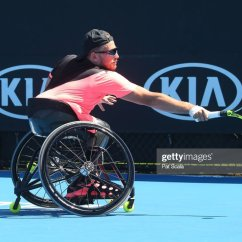 Wheelchair Quad Bean Bag Chairs At Target Dylan Alcott Of Australia Plays A Backhand In His Australian Open 2018 Championships News Photo