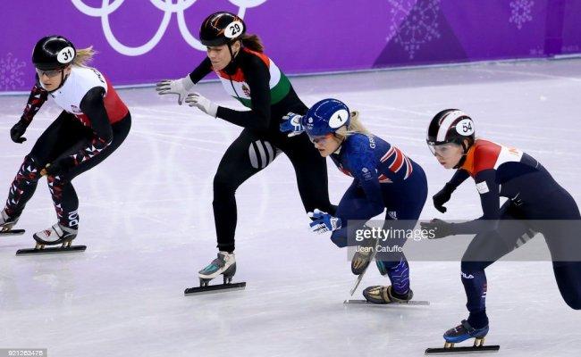 Elise Christie Of Great Britain Competing With Lara Van